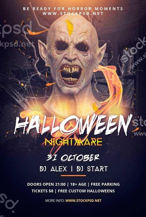 Halloween Flyer Template Free Halloween Nightmare Free Psd Flyer Template
