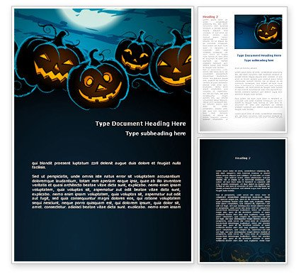 Halloween Templates for Word Free Blue Halloween Night Word Template
