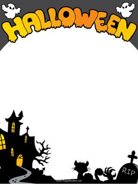 Halloween Templates for Word Haunted House Halloween Border