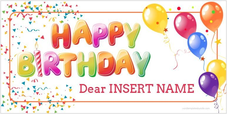 Happy Birthday Template Word Birthday Banner Templates for Ms Word