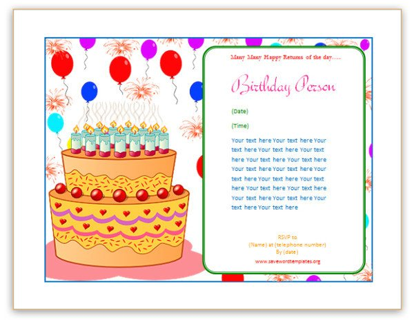 Happy Birthday Template Word Birthday Card Template