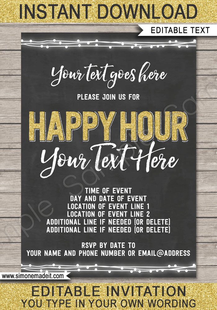 Happy Hour Invitation Template Chalkboard Happy Hour Invitation Template