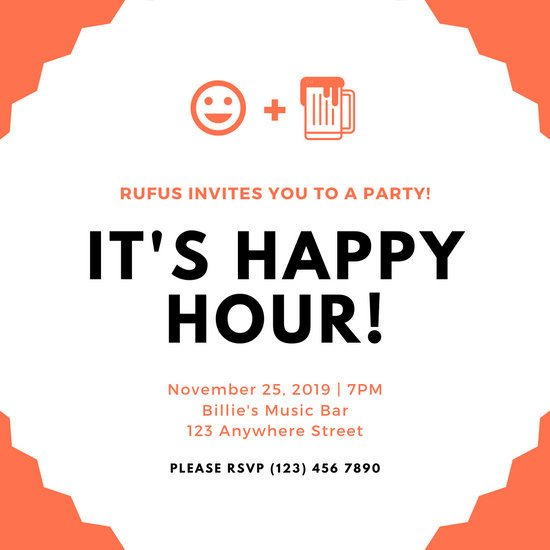 Happy Hour Invitation Template Customize 89 Happy Hour Invitation Templates Online Canva