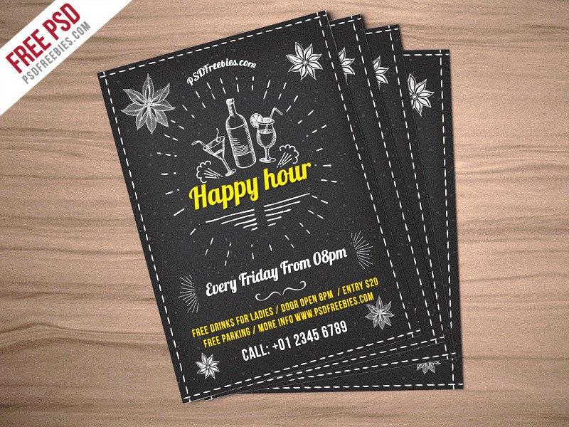 Happy Hour Invitation Template Freebie Happy Hour Party Invitation Flyer Free Psd by