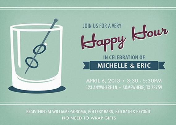 Happy Hour Invitation Template Happy Hour Wedding Shower Invitation Printable by