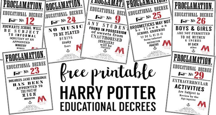 Harry Potter Proclamation Template Harry Potter Educational Decrees Free Printables Paper