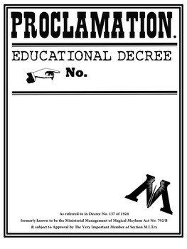 Harry Potter Proclamation Template Harry Potter Proclamation Education Decree Template by