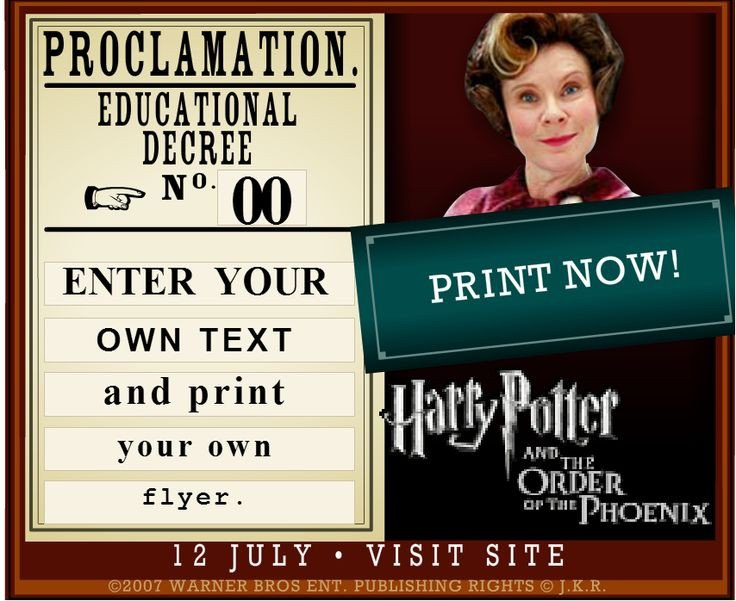 Harry Potter Proclamation Template