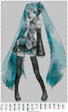 Hatsune Miku Pixel Art Grid Mami tomoe Puella Magi Madoka Magica Perler Pattern by