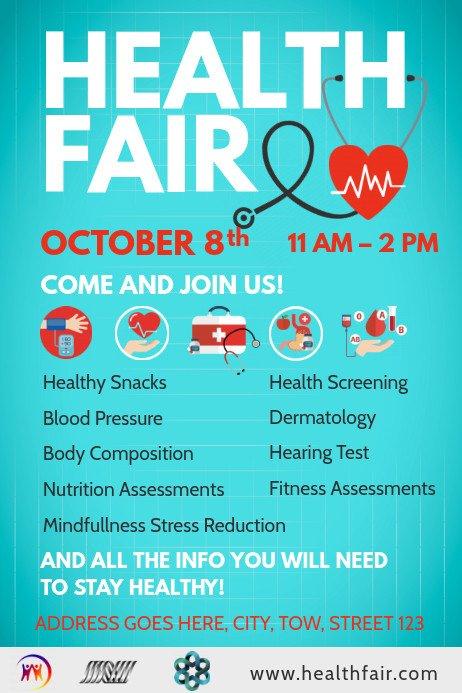 Health Fair Flyer Template Free Blue Health Fair Poster Template