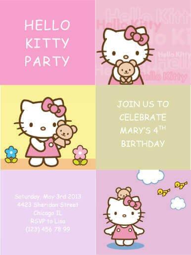 Hello Kitty Birthday Invitation 33 Free Diy Printable Party Invitations for Kids