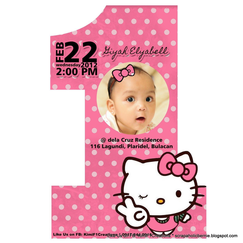 Hello Kitty Birthday Invitation F1 Digital Scrapaholic Hello Kitty 1st Birthday 2 Page