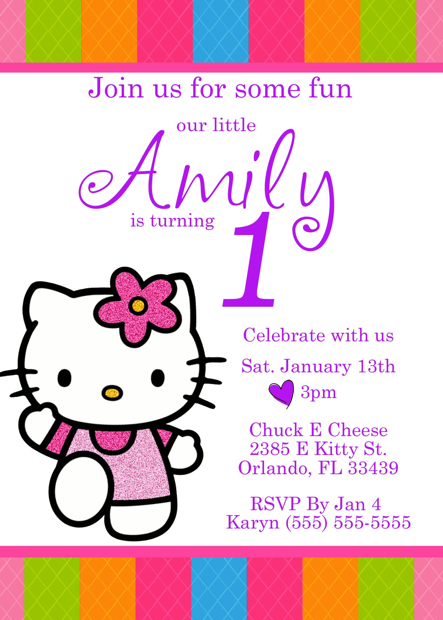 Hello Kitty Birthday Invitation Hello Kitty Birthday Invitation
