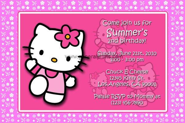 Hello Kitty Birthday Invitation Hello Kitty Birthday Invitations