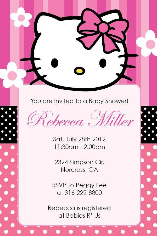 Hello Kitty Birthday Invitation Hello Kitty Girl Birthday Party or Baby Shower Custom