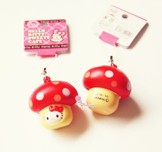 Hello Kitty in a Mushroom Squishy with Tags · Uber Tiny
