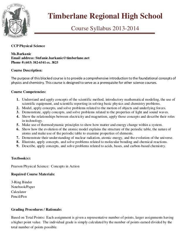 High School Syllabus Template Ccp Phy Sci Trhs Syllabus Template