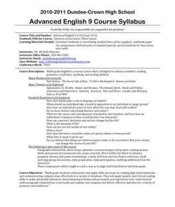 High School Syllabus Template Sample Syllabus with Great Policies 10 11 Syllabus for