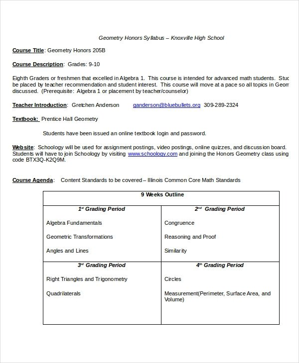 High School Syllabus Template Syllabus Template 7 Free Word Documents Download