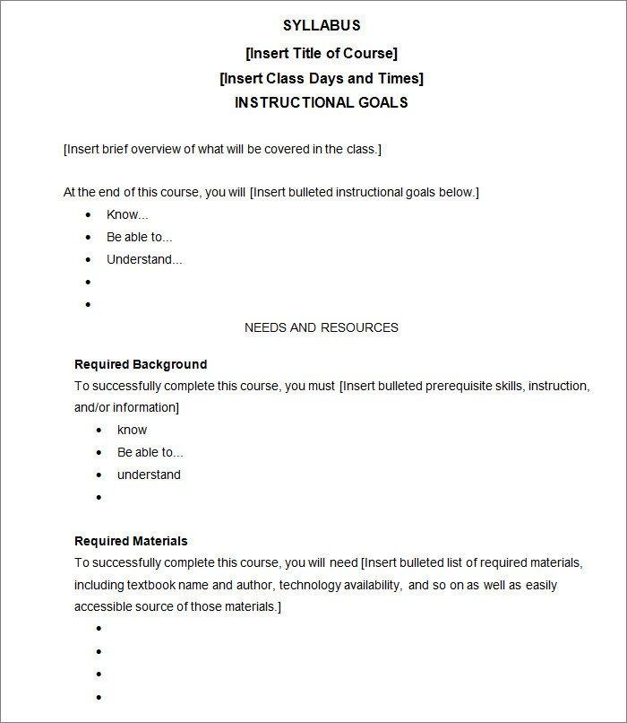 High School Syllabus Template Syllabus Template Free Templates