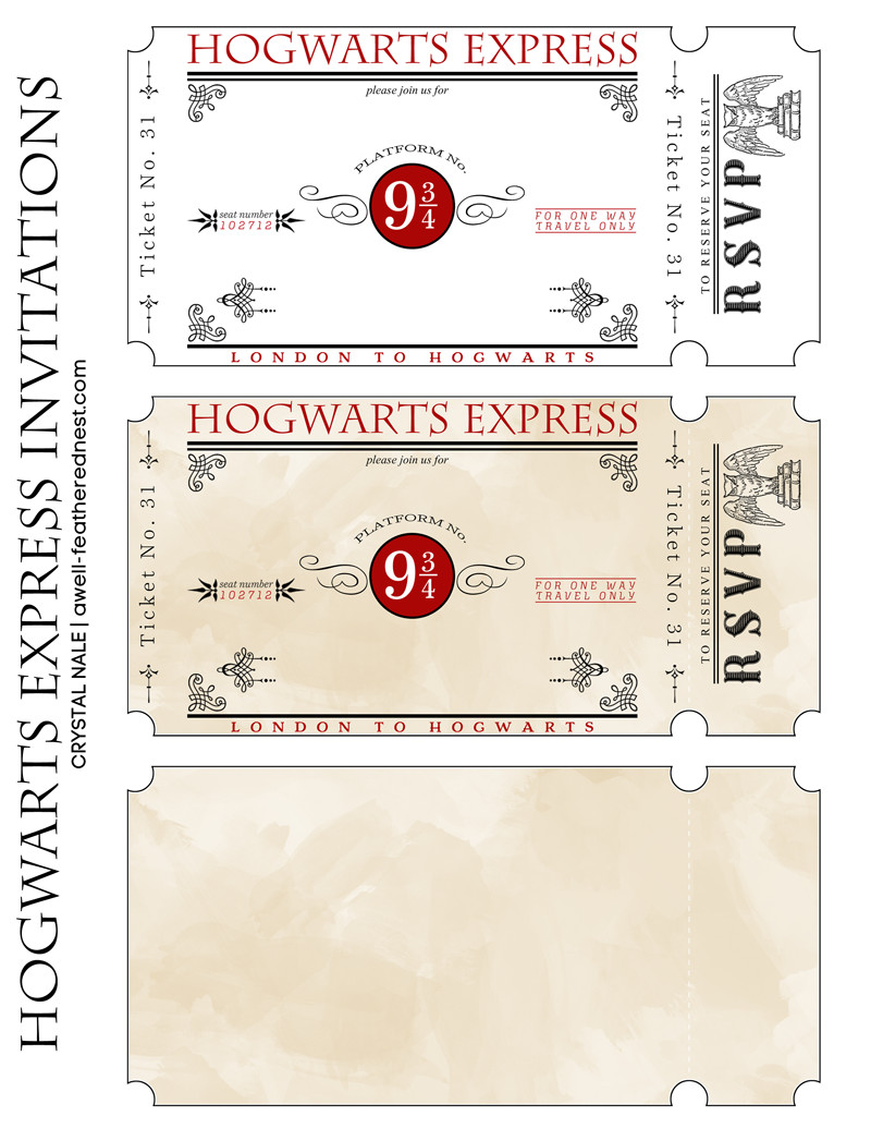 Hogwarts Express Ticket Template A Well Feathered Nest Harry Potter Party the Invitations