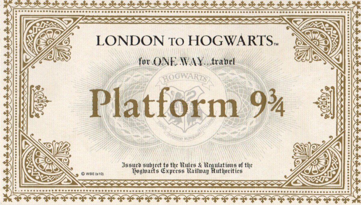 """Hogwarts Express Ticket Template """"last Call for Platform 9 3 4"""" – 5 Days Left to Win Harry"""
