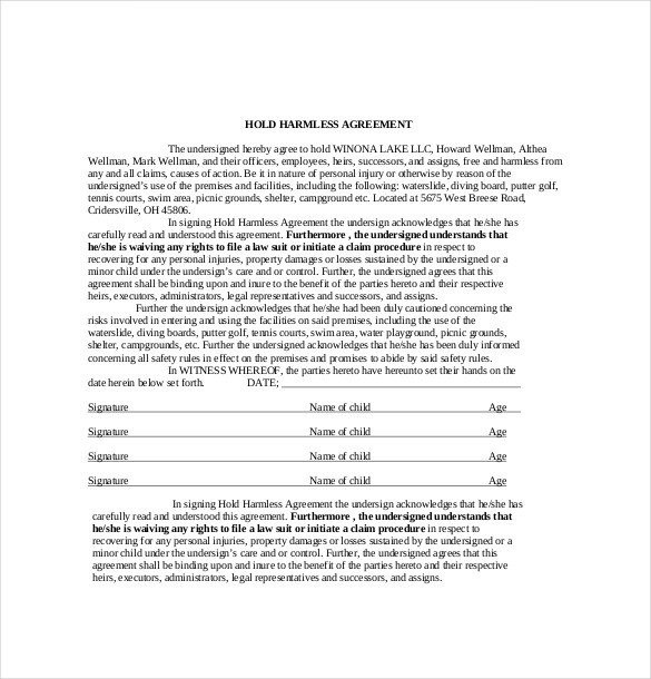 Hold Harmless Agreement Template 11 Hold Harmless Agreement Templates– Free Sample