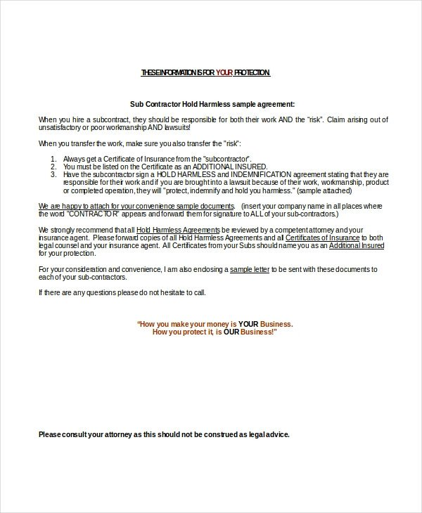 Hold Harmless Agreement Template 14 Hold Harmless Agreements Free Sample Example