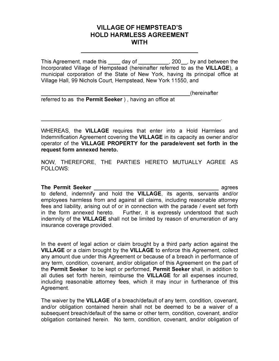 Hold Harmless Agreement Template 40 Hold Harmless Agreement Templates Free Template Lab