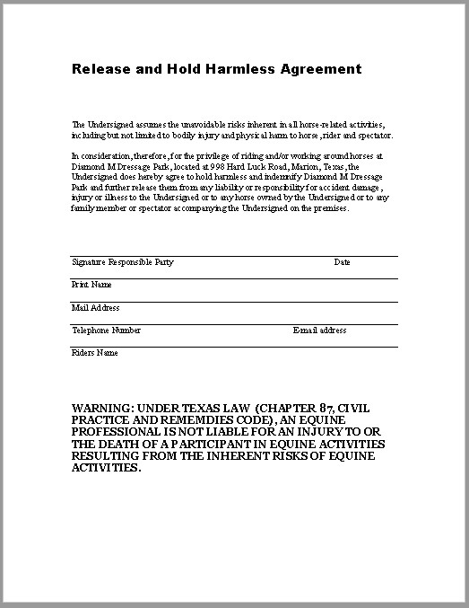 Hold Harmless Agreement Template 43 Free Hold Harmless Agreement Templates Ms Word and Pdfs