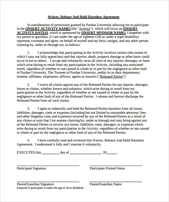 Hold Harmless Agreement Template Hold Harmless Agreement 32 Download Documents In Pdf