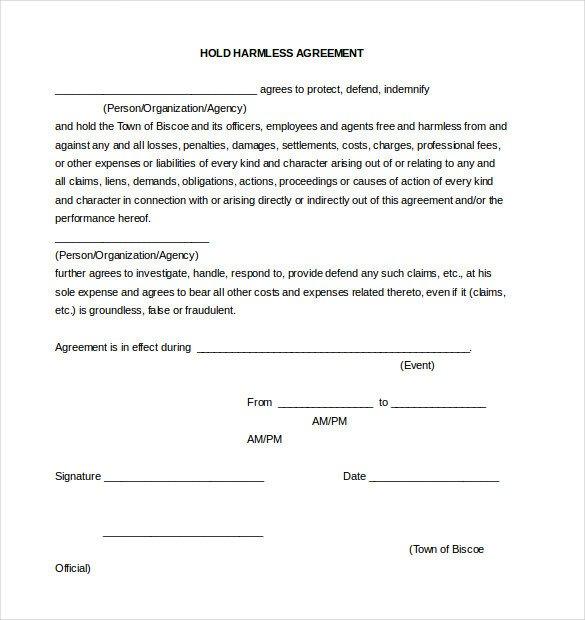 Hold Harmless Agreement Template Hold Harmless Agreement Template – 14 Free Word Pdf