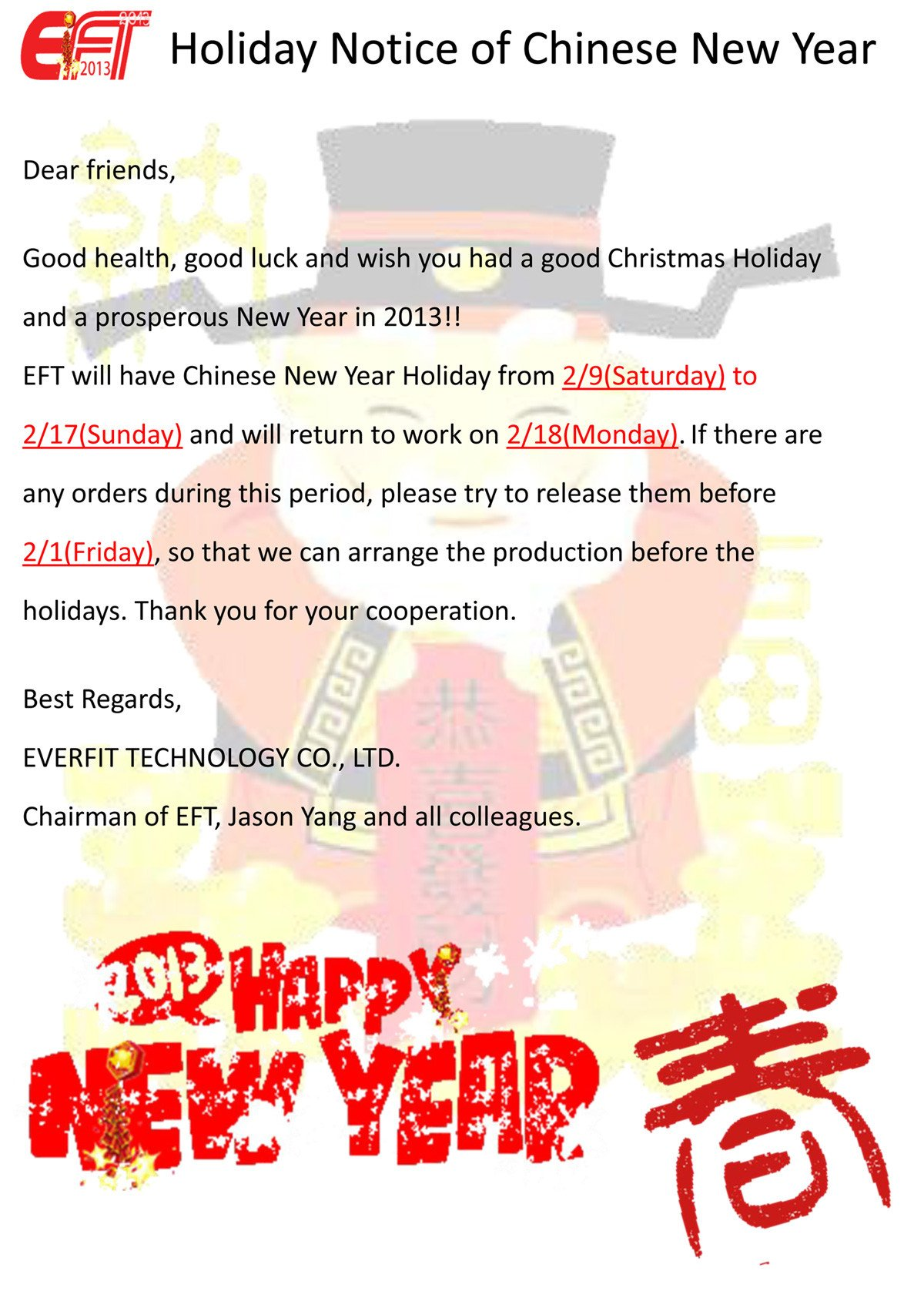 Holiday Notice of Chinese New Year