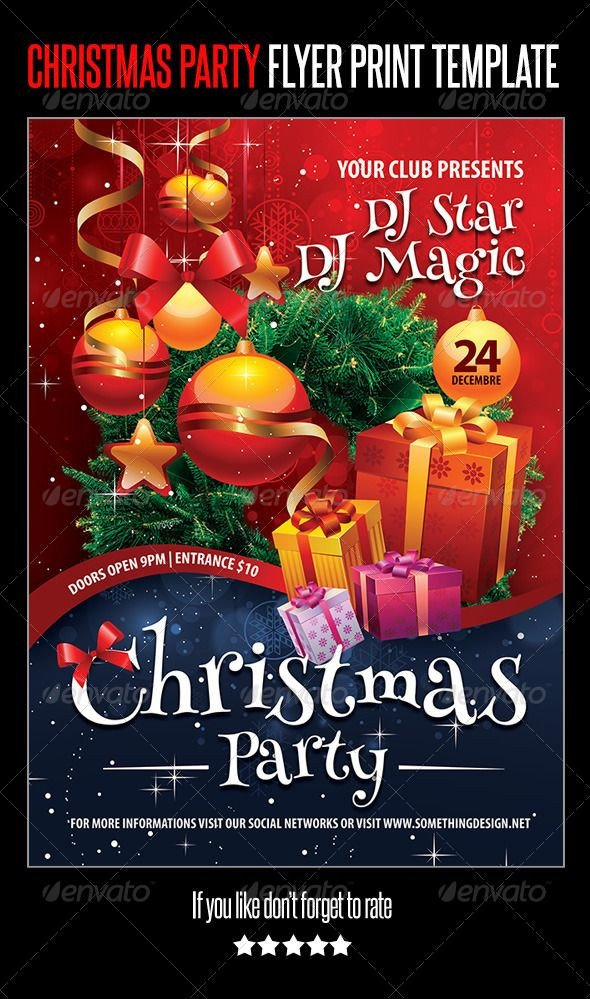 Holiday Party Flyer Template Free Christmas Party Flyer Print Template