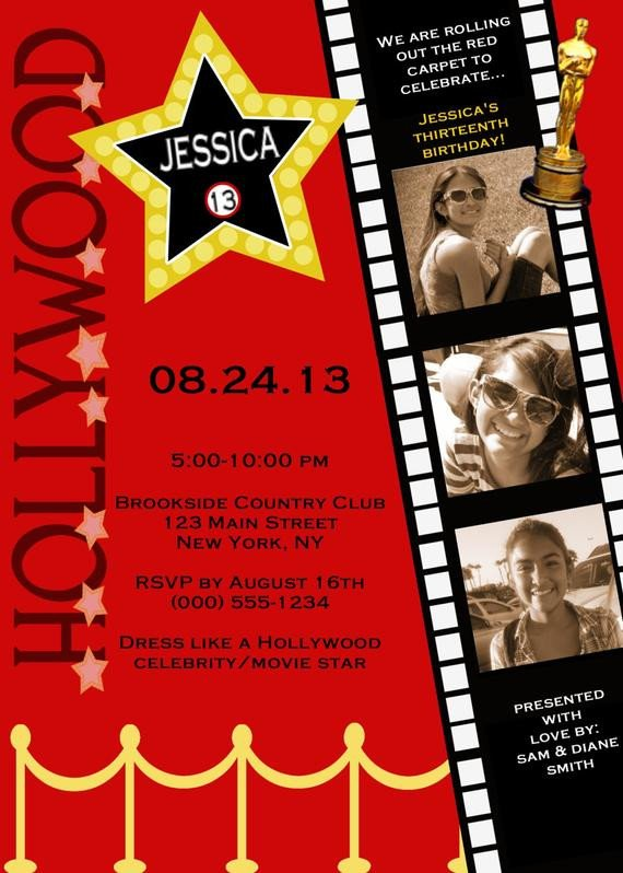 Hollywood themed Invitations Free Templates Customized Hollywood Red Carpet Invitations