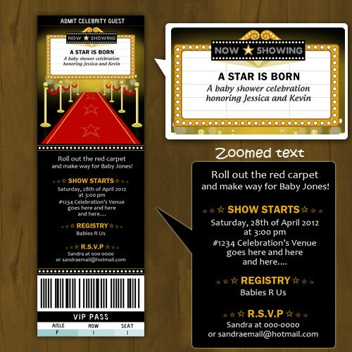 Hollywood themed Invitations Free Templates Hollywood Baby Shower Printed Invitations Ticket Style A