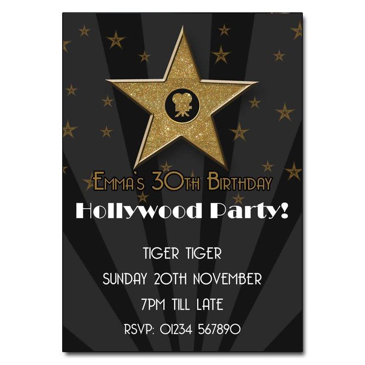 Hollywood themed Invitations Free Templates Hollywood Party Invitation