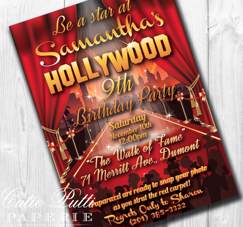 Hollywood themed Invitations Free Templates Hollywood Party Invitations Hollywood Invitation Hollywood