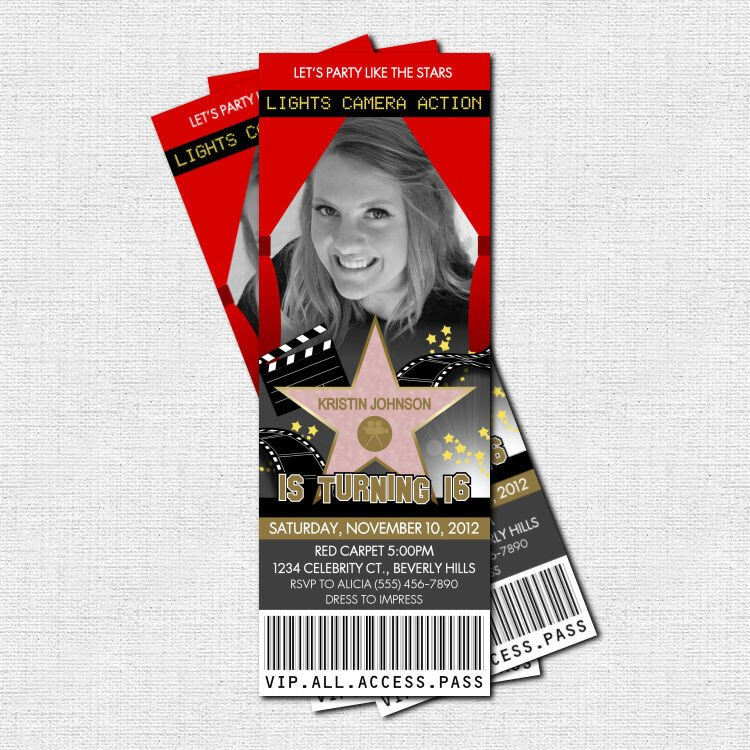 Hollywood themed Invitations Free Templates Hollywood Red Carpet Party Ticket Invitations Print Your