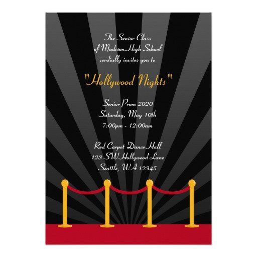 """Hollywood themed Invitations Free Templates Hollywood Red Carpet Prom formal Invitations 5"""" X 7"""