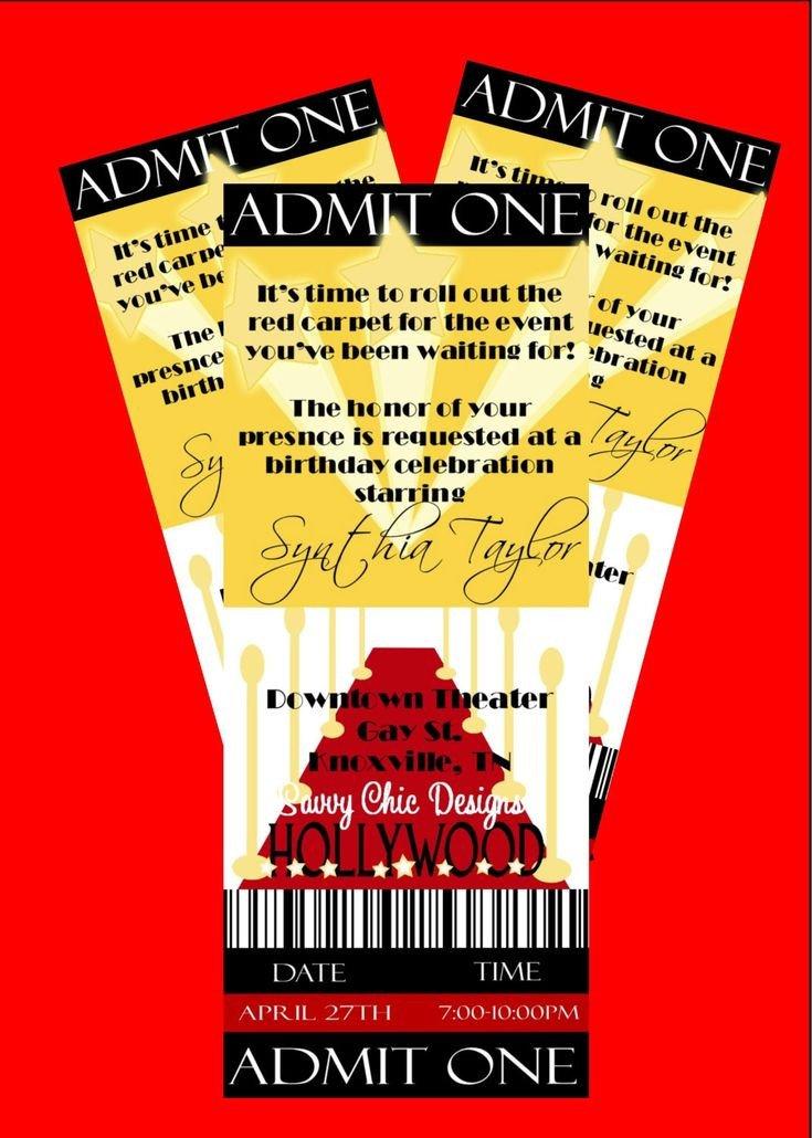 Hollywood themed Invitations Free Templates Hollywood Ticket Style Birthday Invitation Diy Printable