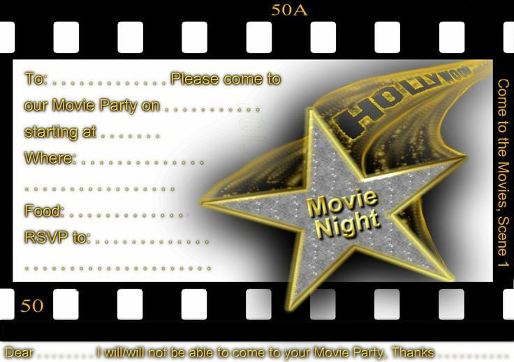 Hollywood themed Invitations Free Templates Movie Night Party Movie Nights and Night Parties On Pinterest