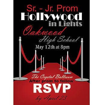 Hollywood themed Invitations Free Templates Our One Sided Hollywood Red Carpet Invitations are Printed