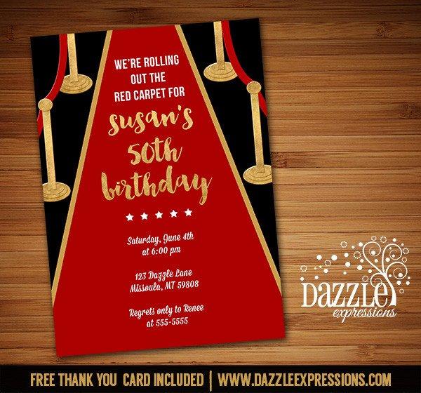 Hollywood themed Invitations Free Templates Printable Hollywood Red Carpet Birthday Invitation Movie