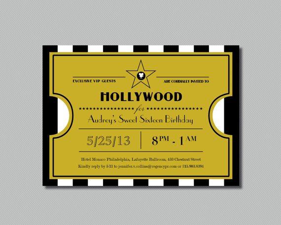 Hollywood themed Invitations Free Templates Printable Hollywood Sweet Sixteen Ticket Invitation