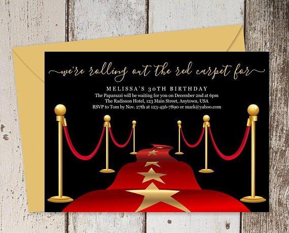 Hollywood themed Invitations Free Templates Printable Red Carpet Invitation Template Hollywood theme