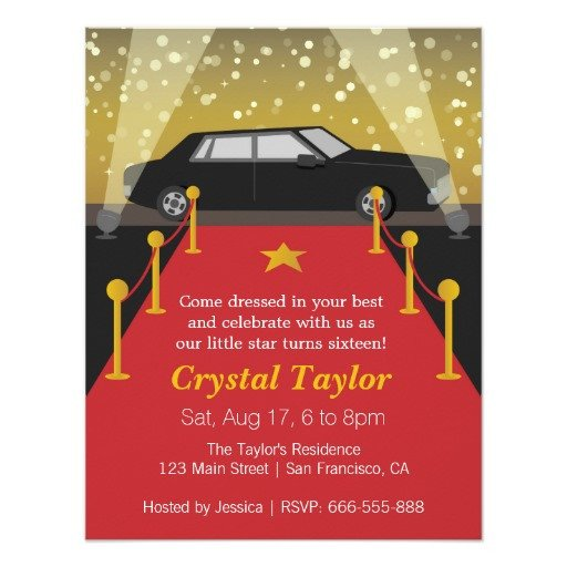 Hollywood themed Invitations Free Templates Red Carpet Birthday Party Invitations Free Invitation