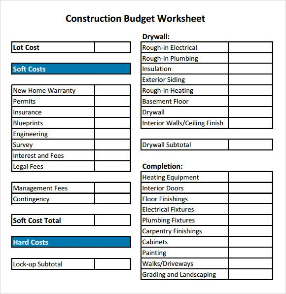 Home Construction Budget Spreadsheet 12 Construction Bud Samples Word Pdf Excel