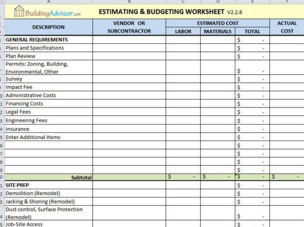 Home Construction Budget Spreadsheet 6 Best Free Construction Estimate Templates