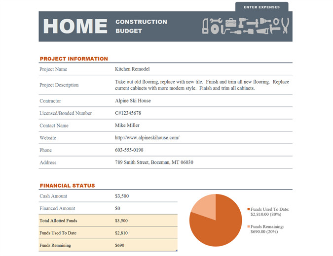 Home Construction Budget Spreadsheet Home Construction Bud